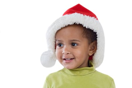 African baby girl with red hat of Christmas on a over white background photo