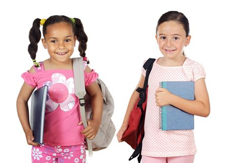 Two girls students returning to school on a white background photo