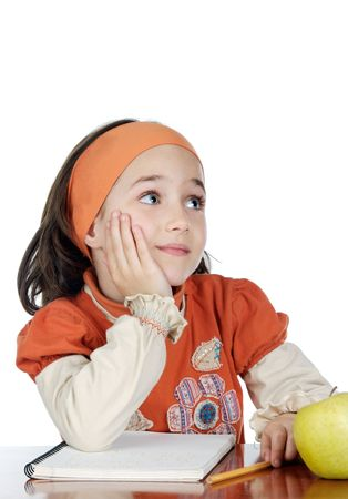Adorable student thinking on a over white background photo