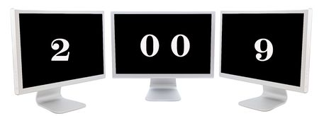 silvered: Three monitors with number 2009 on a over white background