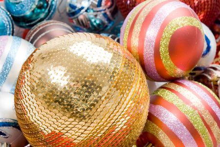 Different balls of christmas on a over white background photo