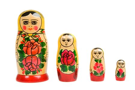 nested: Russian doll on a over white background Stock Photo