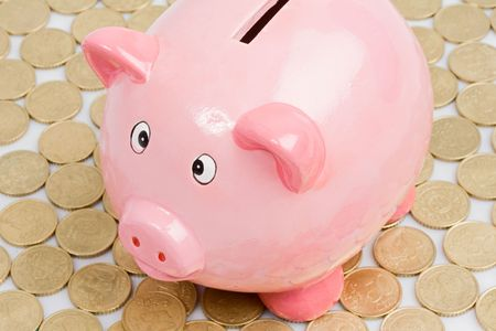 Pink piggy-bank with many currencies outside photo