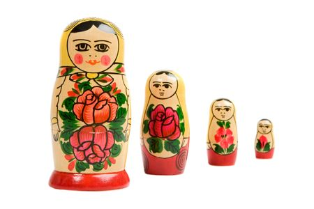 Russian dolls on a over white background photo
