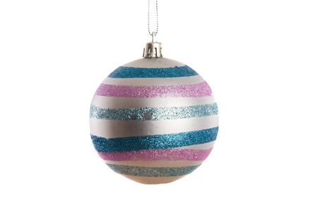 silvered: Silvered ball of christmas on a over white background