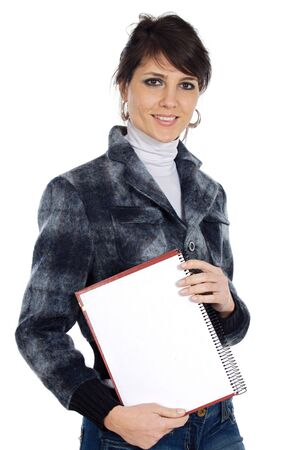attractive and elegant business woman over a white background photo