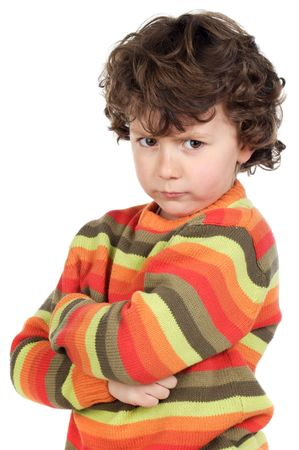 whim: Angry boy on a over white background