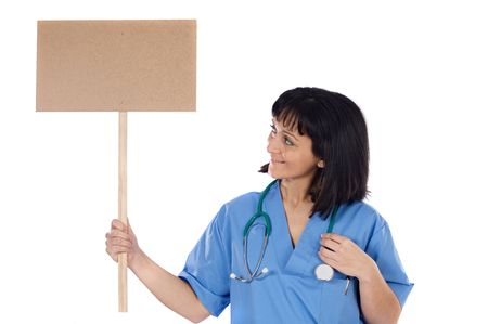 Woman doctor with cartel on a over white background photo