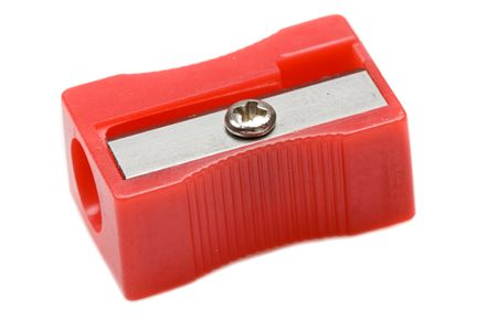 silvered: Photo of one pencil-sharpener on a over white background