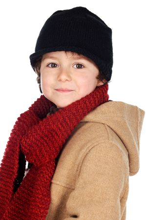Adorable boy dress for the winter a over white background photo