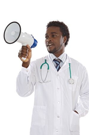 Attractive young doctor whit megaphone on a over white background photo