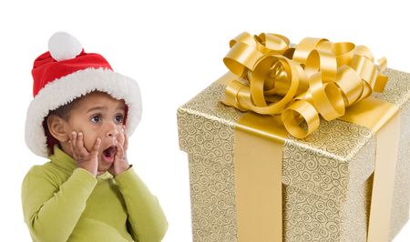 Surprised baby girl with one gift of Christmas on a over white background Stock Photo - 3922253