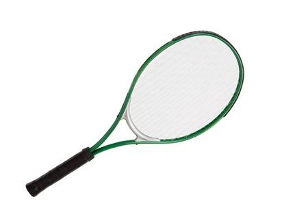 raqueta de tenis: Foto de una raqueta de tenis en un fondo blanco  Foto de archivo