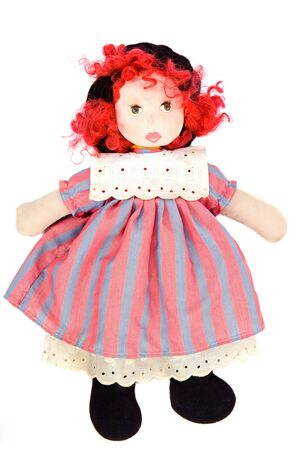 Beautiful rag doll on a white background Stock Photo