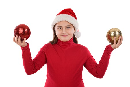Beautiful girl with two balls of christmas on a over white background photo