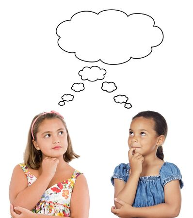 innocent girl: Two beautiful girls thinking a over white background