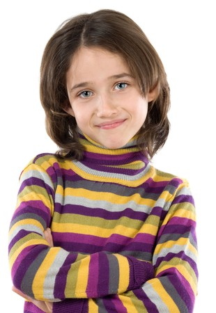 Adorable girl with her arms crossed isolated over white Stock Photo - 3988718