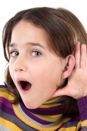 boca abierta: Adorable ni�a de audiencia en m�s de un fondo blanco Foto de archivo