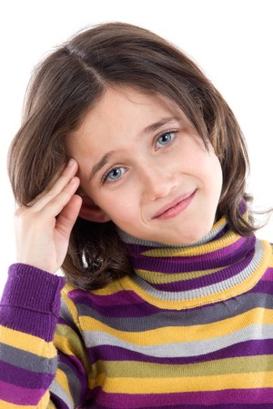 whit: Adorable girl whit headache on a over white background Stock Photo