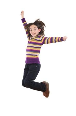 Joyful little girl jumping on a over white background Stock Photo - 3988659