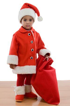 botas de navidad: �frica ni�a con traje de Santa Claus en un sobre fondo blanco Foto de archivo