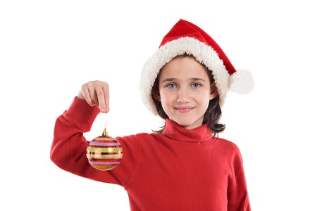 Beautiful girl with red ball of christmas on a over white background Stock Photo - 3988669