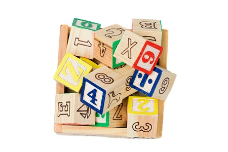 Many alphabet learning blocks on a over white background photo