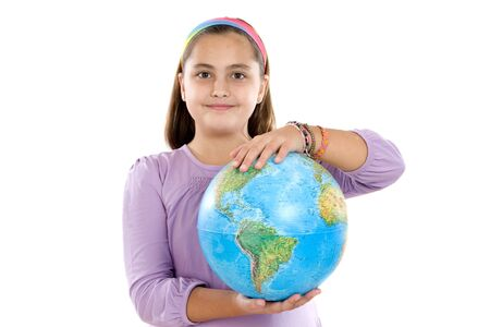 Girl with a globe of the world over white background Stock Photo - 4003166