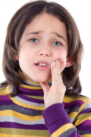 toothache: Adorable girl whit toothache on a over white background