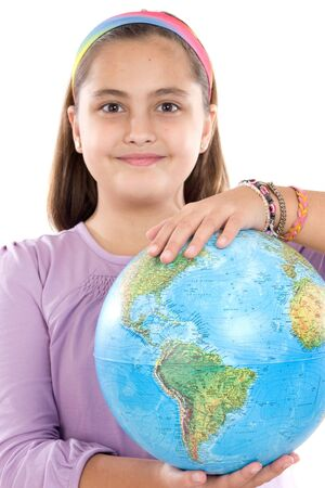 Adorable girl with a globe of the world over white background Stock Photo - 4109546
