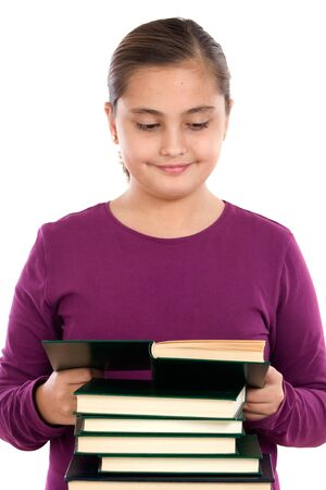 Adorable girl with reading a book on a over white background Stock Photo - 4109534