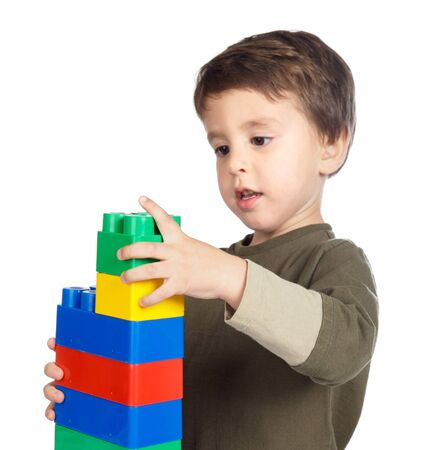 Photo of a adorable future architect on a over white background photo