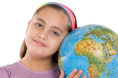 Adorable girl with a globe of the world over white background Stock Photo - 4170755