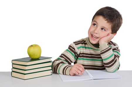 Adorable child thinking in the school on a over white background Stock Photo - 4170596