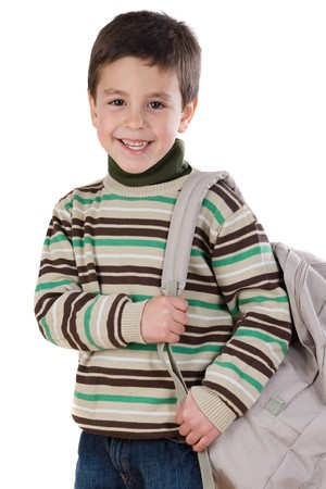 Adorable boy student with backpack isolated over white photo