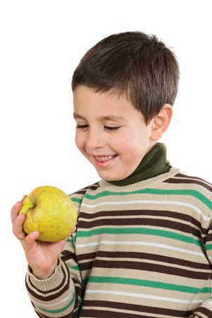 sympathetic: Adorable boy with a apple on a white background