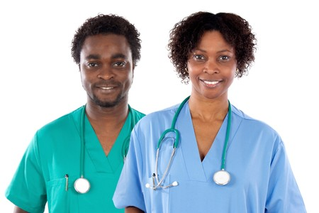 Couple of African American doctors a over white background photo