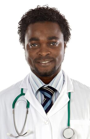 Attractive young doctor a over white background Stock Photo - 4170608