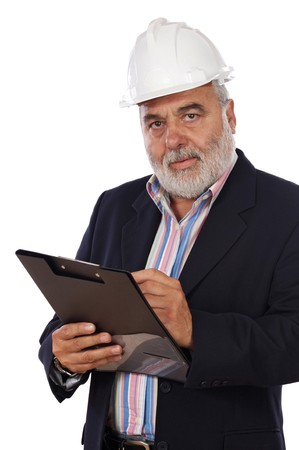 engineering clipboard: Engineer taking notes on a over white background Stock Photo