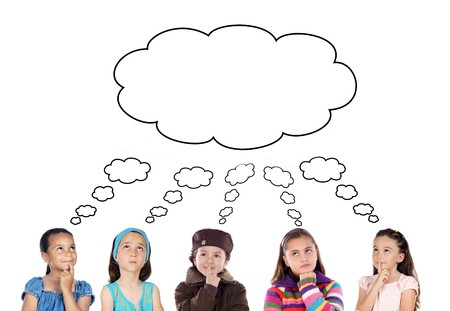imagining: Group of five children thinking a over white background Stock Photo