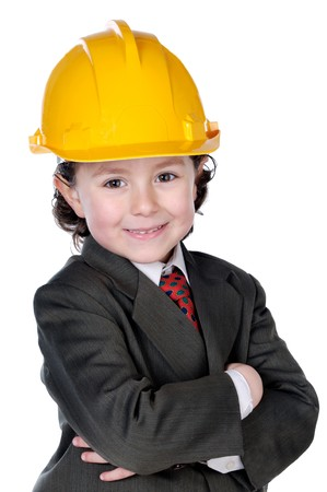designer baby: Adorable future architect over a white background Stock Photo