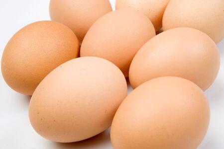 gallina con huevos: Foto de muchos huevos de gallina marr�n aisladas en blanco