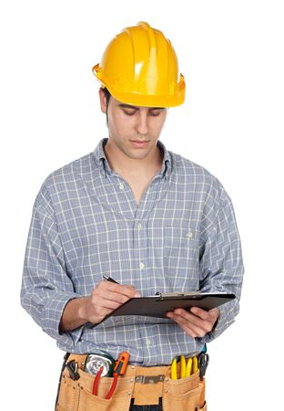 Attractive construction worker on a over white background photo