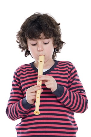 Adorable child playing flute on a over white background photo