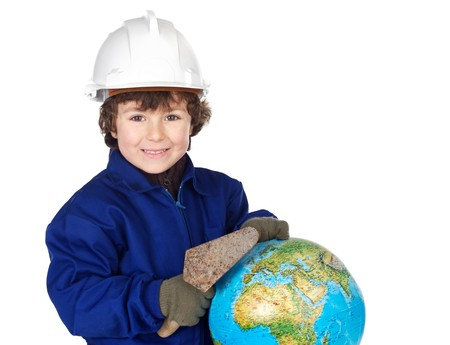 Adorable future builder constructing the world a over white background photo
