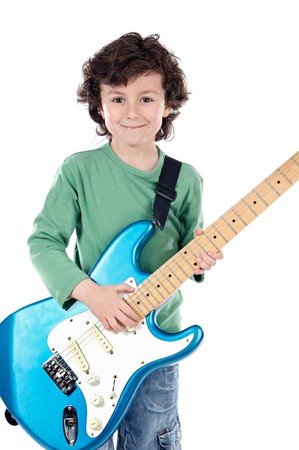 Handsome boy whit electric guitar a over white background photo