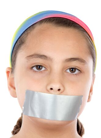 Beautiful girl with adhesive on her mouth and closed eyes isolated over white Stock Photo - 4252399