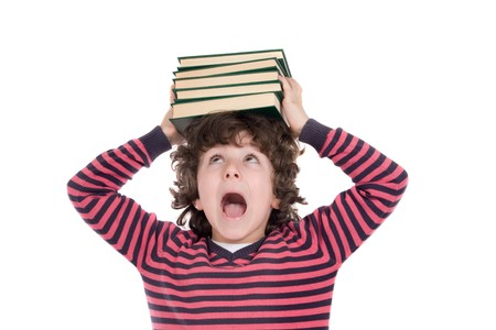 Adorable child with many books on the head isolated over white Stock Photo - 4252392