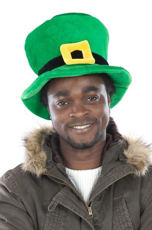 African American with saint patrick�s hat  isolated photo