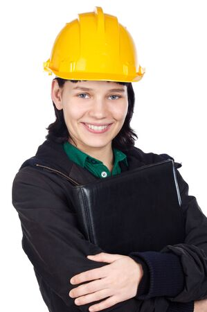 Attractive young engineer on a over a white background Stock Photo - 4252406